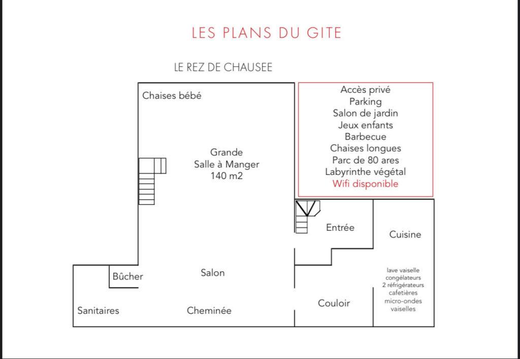 """Plan du gîte """"la Cabane"""" - le rez-de-chaussée"""